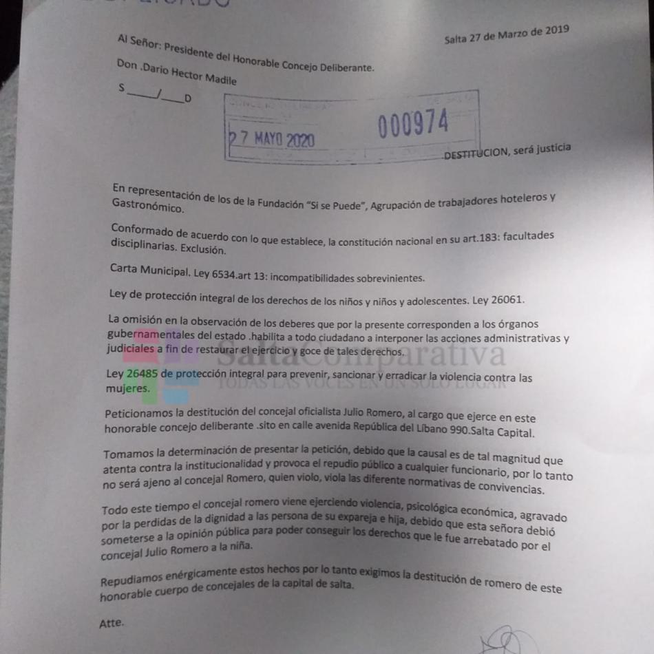 Ingresó al Concejo Deliberante el pedido de destitución para Julio Romero