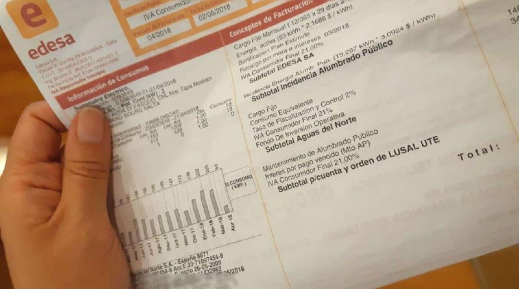Una vecina de Orán recibió una factura de luz por 569 mil pesos